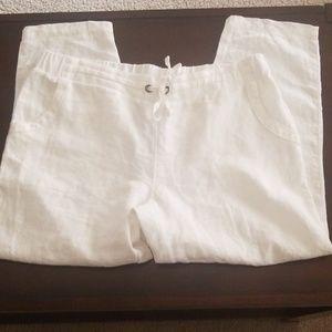 Athleta White Linen Pants Size 16